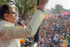 Madhya Pradesh chief minister Shivraj Singh Chauhan addresses a rally during his