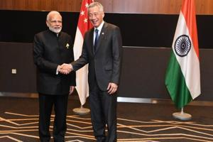 PM Narendra Modi meeting with Prime Minister of Singapore Lee Hsein Loong on the sidelines of East Asia Summit in Singapore.