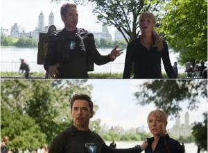 Tony Stark's hoodie magically disappears in a scene from Avengers: Infinity War.
