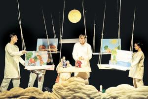 A still from the play, 'When I Will Become A Cloud by Belarus' Gomel Puppet theatre. The play is a story of hope in dark times or love and sacrifice for children and humanity.