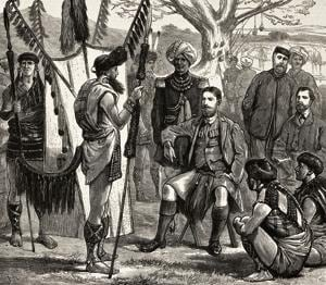 Captain J Butler (assassinated by the Nagas on January 7, 1876) meeting chiefs. Illustration from a magazine called The Graphic, volume XIII, no 329, dated March 18, 1876.