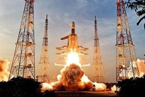 Isro's GSLV Mark III launch vehicle takes off from Satish Dhawan Space Centre in Sriharikota on Wednesday.