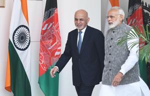 New Delhi, India - Oct. 24, 2017: Prime Minister Narendra Modi with Afghanistan President Dr. Mohammad Ashraf Ghani at Hyderabad House in New Delhi, India, on Tuesday, October 24, 2017. (Photo by Mohd Zakir/ Hindustan Times)