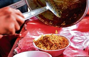 Instant noodles being served at a food stall in New Delhi.