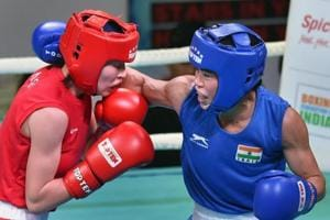 MC Mary Kom (in blue) will lead India's charge in the Women's World Boxing Championship.
