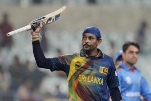 File image - Tillakaratne Dilshan raises his bat after helping his team win a match.