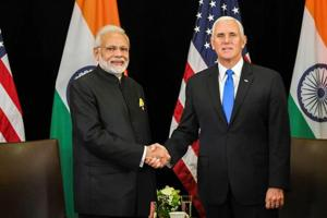 """PMNarendra Modi reminded US vice-president Mike Pence that in one way or other, all leads in global terror attacks ultimately leads to a """"single source and single place of origin"""", without naming any country or organisation."""