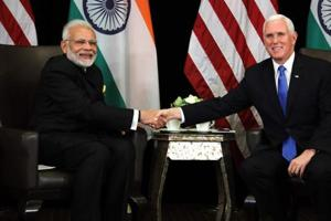 Prime Minister Narendra Modi (with US Vice President Mike Pence during their bilateral meeting on the sidelines of the 33rd Association of Southeast Asian Nations (ASEAN) summit in Singapore on November 14
