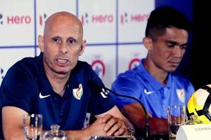File image - India coach Stephen Constantine speaks with captain Sunil Chhetri by his side during a pre-tournament press conference.