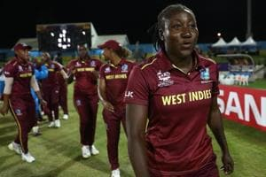 Windies players celebrate after the win over SouthAfrica in the Women's World T20.