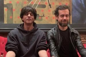 Shah Rukh Khan poses with Jack Dorsey.