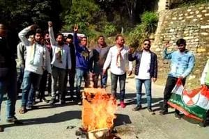 Angry villagers in Harinagari of Bageshwar district protest after a leopard had killed a seven-year-old boy.