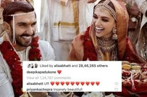Bollywood stars like Katrina Kaif, Alia Bhatt, Anushka Sharma wished Deepika Padukone and Ranveer Singh on their wedding.