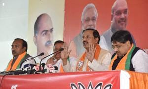 Union minister of state for forest and environment Mahesh Sharma addresses a press conference in Jaipur on Thursday