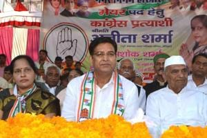Congress state unit president Pritam Singh (left)  during an election campaign meeting in Haridwar.
