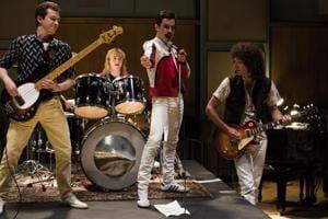 Rami Malek (in red) as Freddie Mercury in a still from Bohemian Rhapsody.