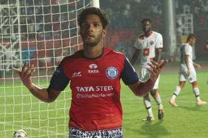 Michael Soosairaj of Jamshedpur FC celebrates scoring during match 25 of the Hero Indian Super League 2018.