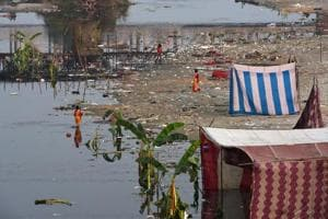 File photo of littered Sutlej river bank in Ludhiana a day after Chhath festival.