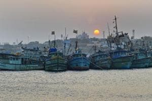 Fishing boats docked at a fishing harbor as a part of precautionary measures in view of cyclonic storm