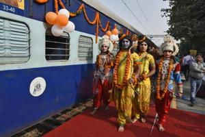 """Artists dressed as Hindu Gods seen at the launch of tourist train """"Ramayana Express""""  at Safdarjung railway station, in New Delhi, on Wednesday, November 14, 2018. The train will cover all the destinations associated with the life of Lord Ram in a 16 days tour package in India as well as Sri Lanka."""