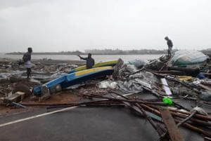 The severe cyclonic storm slammed into the Tamil Nadu coast between Nagapattinam and nearby Vedaranniyam bringing with it heavy rain, and causing severe damage.