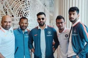 Indian T20 and ODI vice-captain Rohit Sharma poses alongside Yuzvendra Chahal, Khaleel Ahmed, fielding coach R Sridhar and another support staff before the team departed for the tour to Australia.