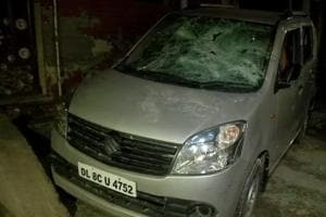 A car and three bikes parked outside AAP leader Jitendra Kumar's house were damaged in the firing incident that took place on Thursday, November 15, 2018.