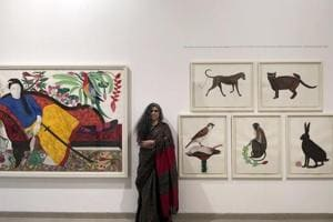 Rekha@Sixty: Transient Worlds of Belonging showcases mixed media works that Baroda-based artist Rekha Rodwittiya created over the past year.