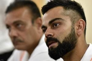 Virat Kohli and head coach Ravi Shastri during press conference at BCCI headquarters in Mumbai.