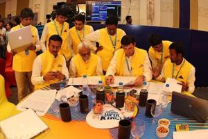 CSK talk tactics during day 2 of the Indian Premier League (IPL) auction held at the ITC Gardenia hotel in Bangalore on the 27th January 2018.