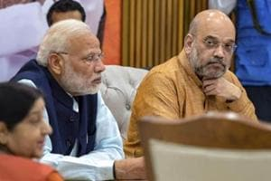 Prime Minister Narendra Modi, BJP President Amit Shah and External Affairs Minister Sushma Swaraj during a party meeting for the Assembly polls in Telangana, in New Delhi. The party released its 3rd list of candidates for the state on November 15.