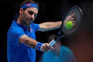 Roger Federer in action during his group stage match against South Africa