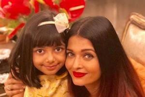 Aaradhya Bachchan poses with mother Aishwarya Rai on her birthday.