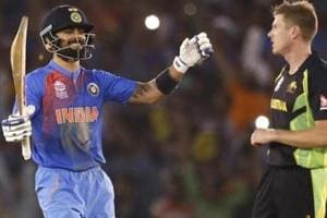 Virat Kohli (L)guided India to victory over Australia in the T20 encounter in Mohali in 2016.
