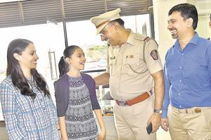 Mahi Avandh Jain, 12 who was kidnapped from near her house in Chinchwad with her parents after being rescued, on Friday