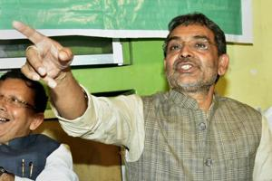 Union minister and Rashtriya Lok Samata Party (RLSP) president Upendra Kushwaha at a press conference in Patna, Saturday