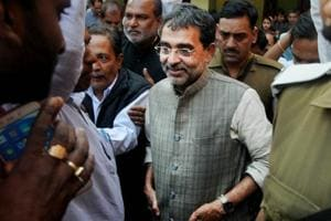 RLSP chief Upendra Kushwaha addressing a press conference in Patna on Saturday. Parwaz Khan/HT Photo