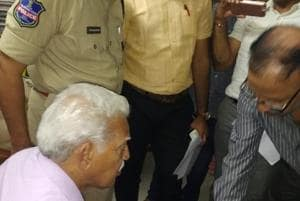 Maoist ideologue Varavara Rao being arrested by the Pune police from his Hyderabad house after his period of house arrest came to an end (HT Photo)