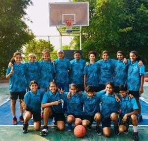 Girls from the Maharashtra team before going for the 45th sub-junior national basketball championship in Kangra, Himachal Pradesh.