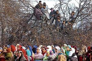 Locals at the funeral of Yawar Wani, who was among two militants killed during an encounter with security forces in Zainapora area of Shopian district on Sunday.