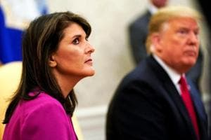 Outgoing USambassador to the UN Nikki Haley with US President Donald Trump at the Oval Office of the White House in Washington.