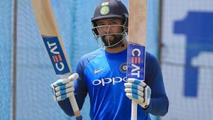Rohit Sharma takes part in a practice session ahead of the 1st test match between Sri Lanka and India