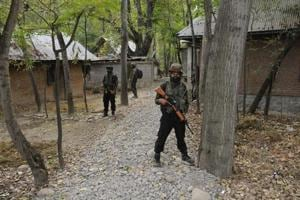 Army soldiers during a cordon-and-search operation in Pulwama village.