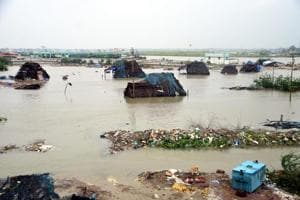 A view of Akkaraippettai, a fishing hamlet which was surrounded by water due to the rainfall and cyclone Gaja in Nagapattinam district, Tamil Nadu on Saturday.