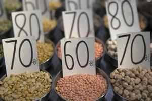 Samples of pulses are displayed in a wholesaler at Khari Baoli spice market in New Delhi, India, on Wednesday, May 30, 3018.
