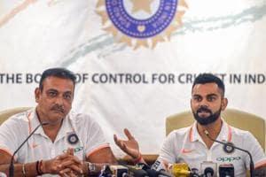 Mumbai: Indian cricket captain Virat Kohli along with coach Ravi Shastri during the team