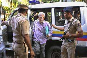 Activist/writer and poet P Varavara Rao at Lashkar Police Station in Pune  on November 18, 2018.