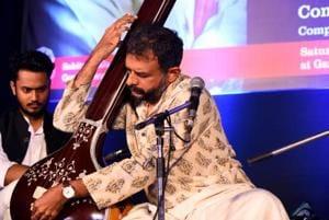 """Carnatic music vocalist TM Krishna during the concert,"""" Awam ki Awaz"""" at the Garden of Five Senses, Saket in New Delhi."""