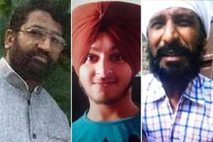 A combination photo of the three persons -- (from L to R) Sukhdev Kumar, Sandeep Singh, Kuldeep Singh - who died in the grenade attack at the Nirankari Bhawan in Amritsar's Rajasansi, November 18, 2018.