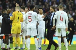 England manager Gareth Southgate shakes hands with Joe Gomez at the end of the UEFA Nations League match against Croatia at the Wembley Stadium.